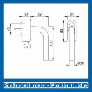 Hoppe Bonn Aluminium Fenstergriff abschließbar F1-2 Natur matt Secu100 + Secustik 150F/US950S (100 Nm), 2547780, 2547798 - Vorschau 2