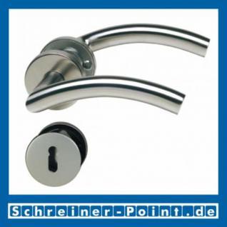 C-Form Edelstahl Rosettengarnitur auf Metall-Unterrosette
