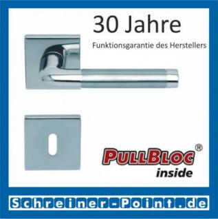 Scoop Duo quadrat PullBloc Quadratrosettengarnitur, Edelstahl poliert/Edelstahl matt, Rosette Edelstahl poliert