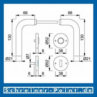 Hoppe Bonn Edelstahl Rosettengarnitur F69 E150Z/42KV/42KVS, 3289778, 6377378, 3289751, 3289866, 6377428, 3307155 - Vorschau 5