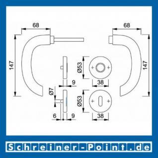 Hoppe Marseille Aluminium Rosettengarnitur F1 Natur 1138/42KV/42KVS, 2781496, 2768187, 2781681, 2782042, 2768216, 2783942 - Vorschau 5