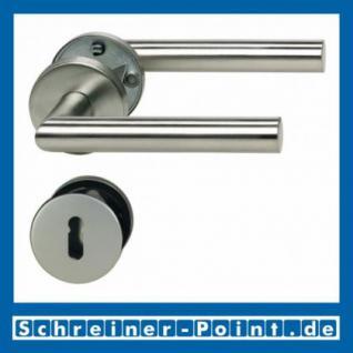 L-Form Edelstahl Rosettengarnitur auf Metall-Unterrosette