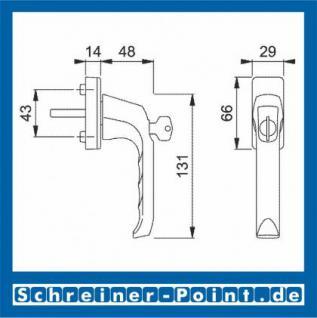 Hoppe London Aluminium Fenstergriff abschließbar F1 Natur 013S/U34, 808151, 819539, 8004525 - Vorschau 2