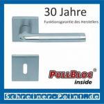 Scoop Duo quadrat PullBloc Quadratrosettengarnitur, Edelstahl poliert/Edelstahl matt, Rosette Edelstahl matt