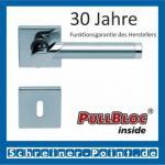 Scoop Fina quadrat PullBloc Quadratrosettengarnitur, verchromt / Edelstahl matt, Rosette Edelstahl poliert