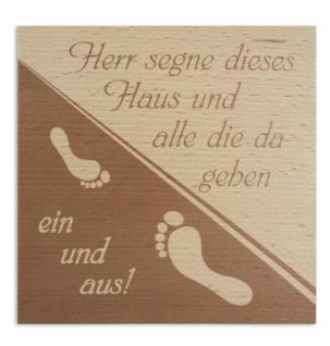 Haussegen Fussabdruck Buchenholz bedruckt 14 x 14 cm