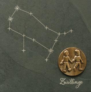 Wandrelief Sternzeichen Zwillinge Schiefer Swarovski 14, 5