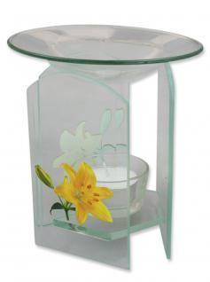 Aromalampe Glas mit Blütendekor 12 x 7 cm