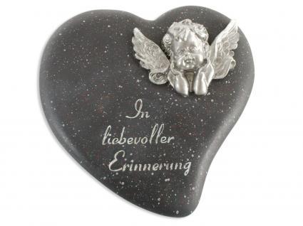 Herz schwarz, mit Engel In liebevoller Erinnerung 13 cm