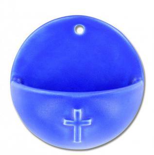 Weihwasserkessel Kreuz Keramik blau glasiert