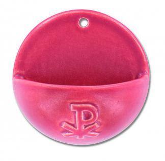 Weihwasserkessel PX Keramik rot glasiert