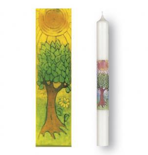 Taufkerze Lebensbaum Siebdruckmotiv 400 x 40 mm