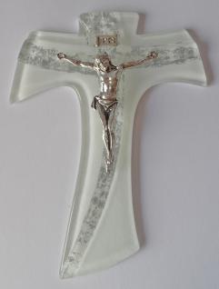 Tau Glaskreuz mit versilbertem Korpus 15, 5 x 12 cm