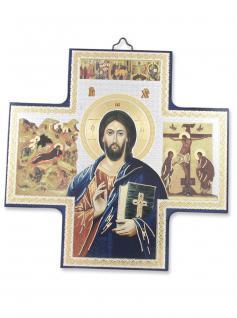 Holzkreuz Pantokrator 15 x 15 cm Ikonen-Motiv