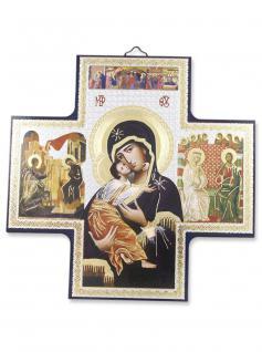 Holzkreuz Madonna 15 x 15 cm Ikonen Motiv