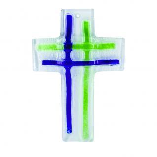 Wandkreuz aus Fusingglas blau, grün 16 cm