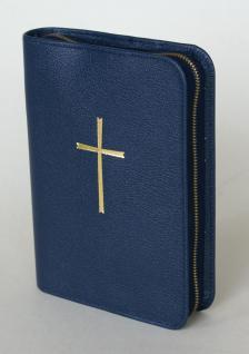 Gotteslobhülle Kreuz Gold, Soft-Nappa, blau