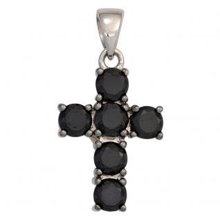 Anhänger Kreuz Zirkonia schwarz 925 Sterling Silber