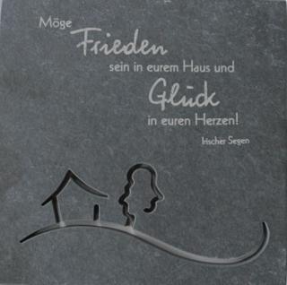 Wandrelief Frieden und Glück 14, 5x14, 5 cm Schiefertafel