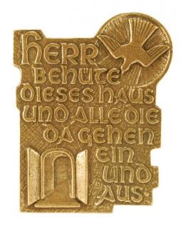 Plakette Herr, behüte dieses Haus 10, 5 cm Bronze