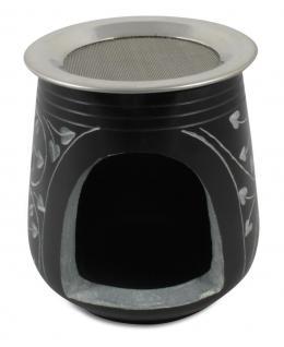 Speckstein Duftlampe Ranken schwarz, 9 x 8 cm