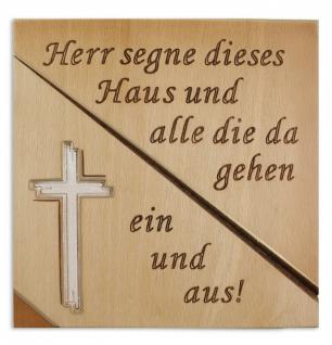 Haussegen Kreuz Buchenholz geschnitzt 14 x 14 cm