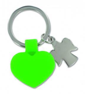 Schlüsselanhänger Herz Engel Kautschuk Metall grün
