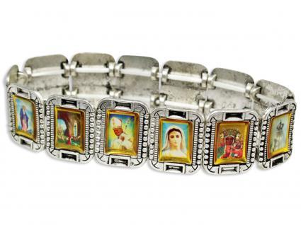 Armband Metall antik silberfarben 13 Heiligenbilder