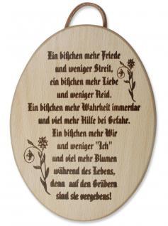 Haussegen Holz Ein bisschen mehr Friede 20 x 15 cm