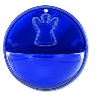 Weihwasserkessel Engel rund 9, 5 cm blau glänzend