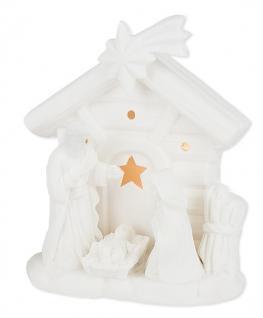 Porzellan-Figur Krippe mit LED-Licht
