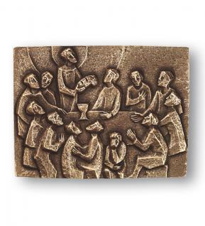 Abendmahl Wandrelief 12 x 17 cm Bronze