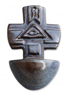 Weihwasserkessel blau 15 cm Keramik