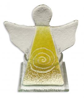 Kerzenhalter Engel Spirale Glas gelb 10 cm