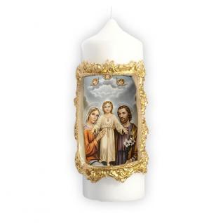 Wallfahrtskerze Heilige Familie 16 x 6 cm mit Bildmotiv