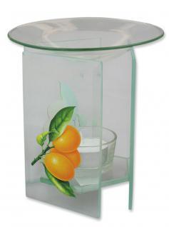 Aromalampe Glas mit Früchtedekor 12 x 7 cm