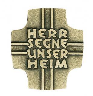 Haussegen Herr segne unser Heim 12 x 11 cm Bronze