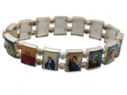 Armband Metall silberfarben mit 14 Heiligenbilder - elastic