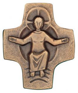 Wandkreuz mit Körper 9 x 8 cm Bronze