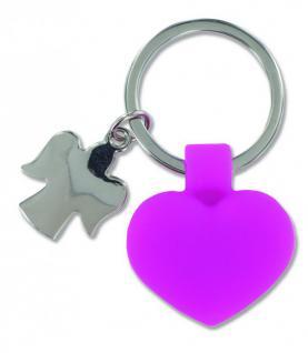 Schlüsselanhänger pinkes Herz, Schutzengel