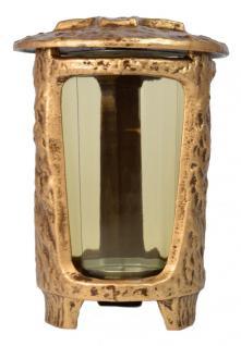 Grablaterne mit Deckel, Glaseinsatz, Kerzenheber 24 cm