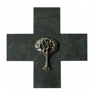 Taufkreuz Lebensbaum 14 cm Schiefer Neusilber