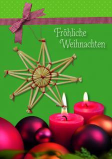 Weihnachtskarte mit Strohstern, Fröhliche... Heidi Rose (5 Stck)