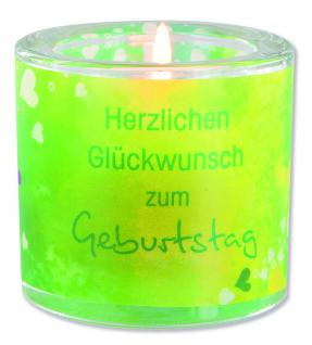 Glaswindlicht Glückwunsch zum Geburtstag 6, 5 cm