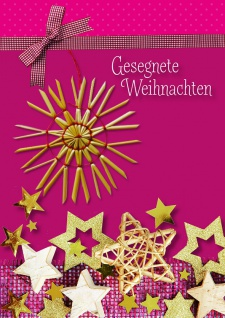 Weihnachtskarte mit Strohstern, Gesegnete... (5 Stck)