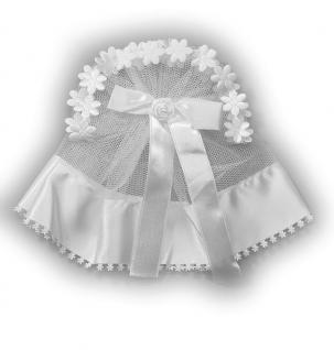 Schleifengarnitur weiß, mit Zierrand und Rose 25 cm Tüll