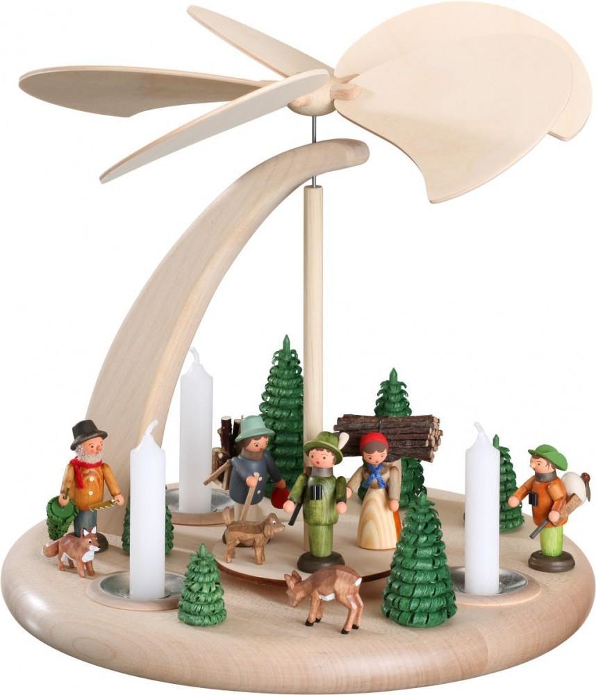 weihnachtspyramide bogen waldleute 25 cm seiffen. Black Bedroom Furniture Sets. Home Design Ideas
