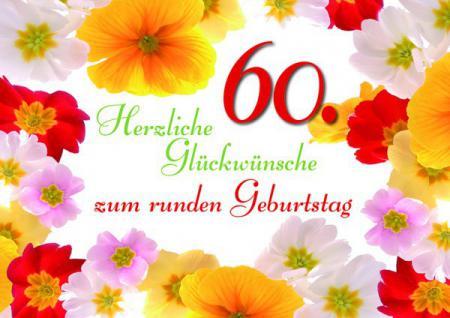 Geburtstagskarte 60. Herzliche Glückwünsche... (6 Stck)