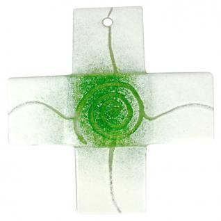 Glaskreuz Spirale hellgrün weiß 12 x 12 cm