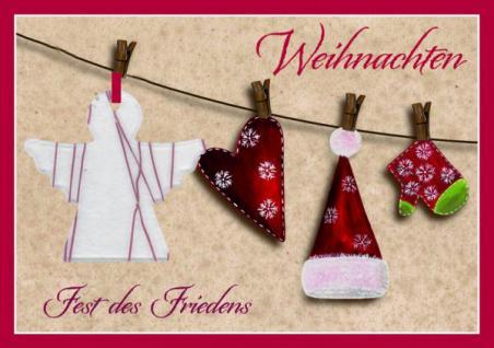Weihnachtskarte mit Anhänger, Weihnachten... (5 Stck)